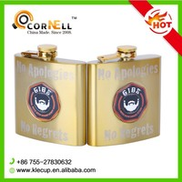 6 oz Gold LOGO Customized Molding Technology USA Hot Sale Stainless Steel Hip Flask