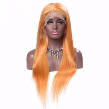 Wholesale Top Quality Raw Indian Women Hair Wig Orange Color Long Silky Straight Hair Lace Front Wig