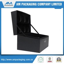 Black Paper Card Rigid Hinged Boxes Wine Bottle Packing Gift Box