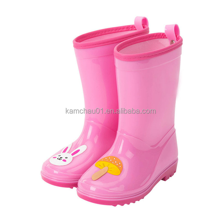 alibaba customized print back pull hoop kids pvc wellington boots for sale