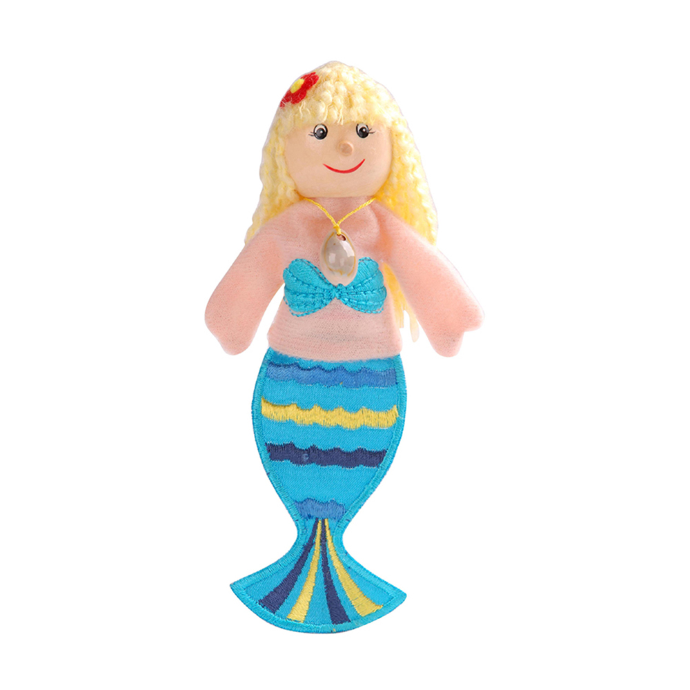 "New Toys For Children Birch Wood Finger Puppets Set ""Little Mermaid"" Professional Puppet"