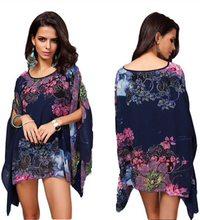 wholesale women fancy chiffon blouses fashion batwing caftan poncho shawl with botton magic multi-way tunic tops