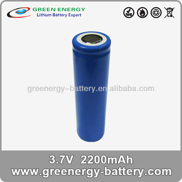 3.7v icr 18650 li-ion rechargeable battery 2200mah 18650 battery cell