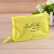 High quality bright color portable pvc cosmetic bag with zipper and logo
