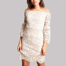 High quality factory wholesale white lace dress long sleeve off shoulder lace dress women casual dresses made in China