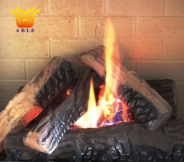 ABLE Gas Fireplace/Chimenea Log Ceramic Gas Logs