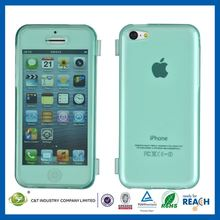 C&T Crystal tpu flip front and back cover new style case for iphone 5c