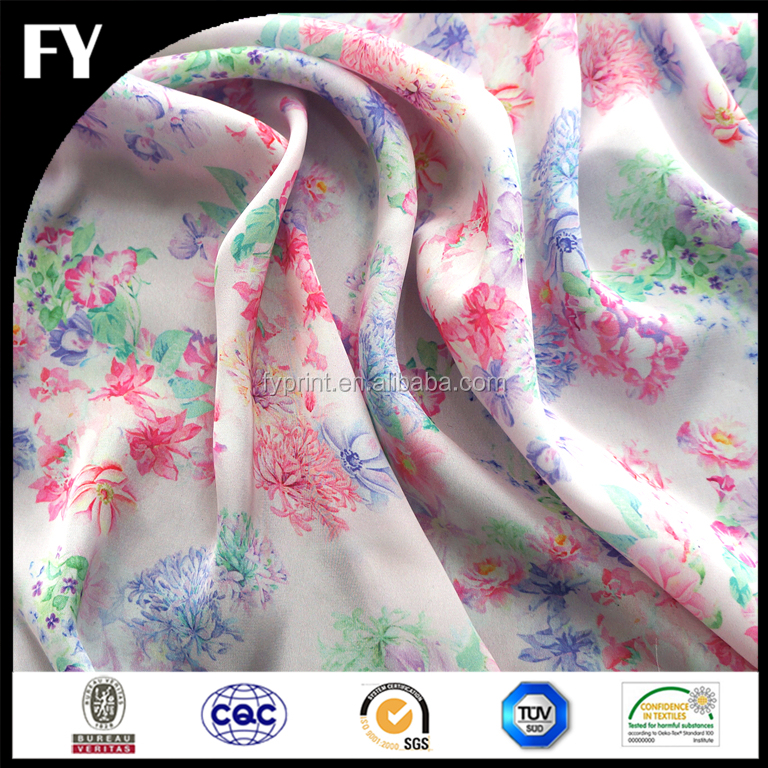 Custom digital printed floral fabric polyester