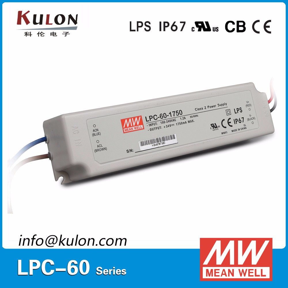 CE UL listed Meanwell LPC-60-1750 Constant Current 1750mA LED Driver 60W