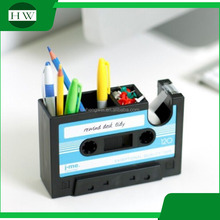 Cassette Shape Office Multipurpose Storage Box With Scotch Tape Pen Holder tape pen holder with one free adhesive tape inside