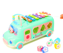 New design multi-function intelligent cartoon 4 in 1 school bus toy baby