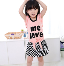 JPSKIRT20160308 Fashion children girl stripe skirt set