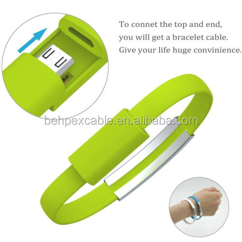 Bracelet Wrist Band Flat USB Charging Charger Data Sync Cable Cord For Android Phone