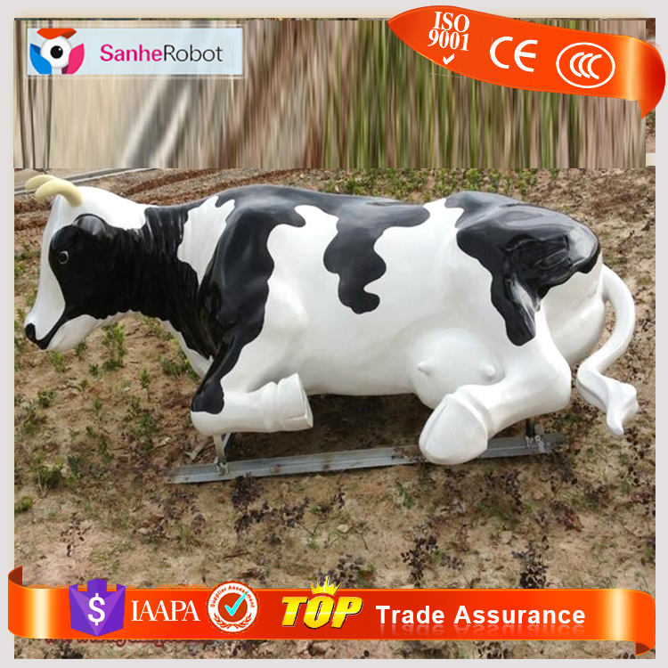 Premium quality attracts people resin animal cows of FIBERGLASS statue