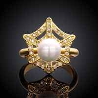 China SJ Romantic Gift for Women R010-A-8 3 Options Yellow Gold Plated Brass White Cubic Zircon Star Shape Simulated Pearl Ring