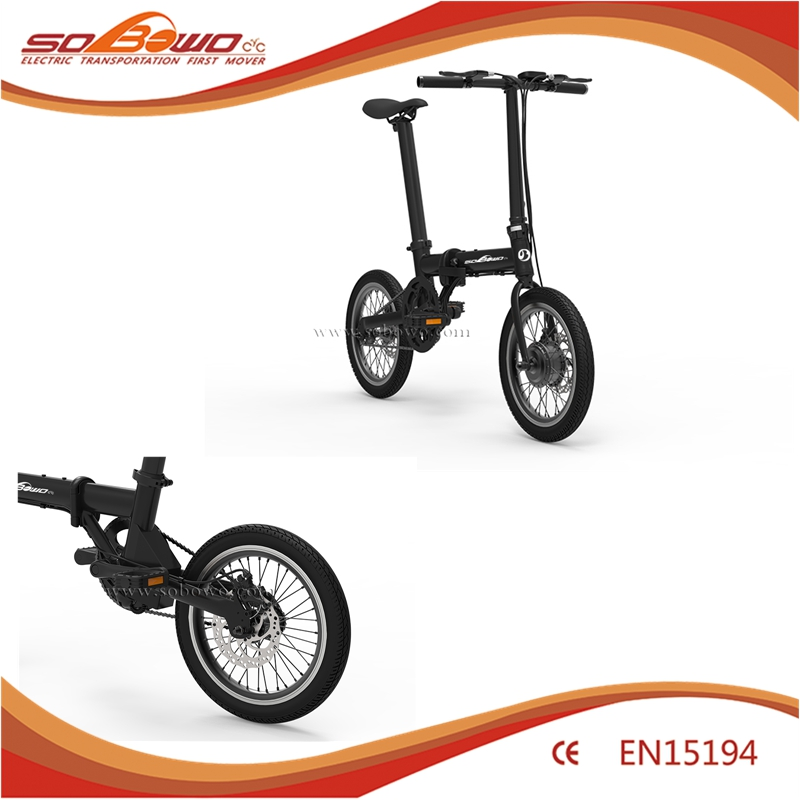 36V 250W Geared Motor Folding Electric Bike With LCD Display