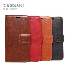 Custom design crazy horse pu leather cell phone cover for iPhone 8 X lip wallet leather case