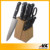 New Design Bamboo Block Royalty Line Kitchen Knife Set