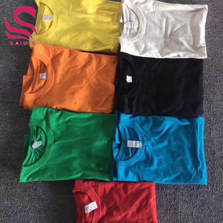 apparel stock Pure color round collar short sleeve clothes cotton unlined upper garment clothes stock