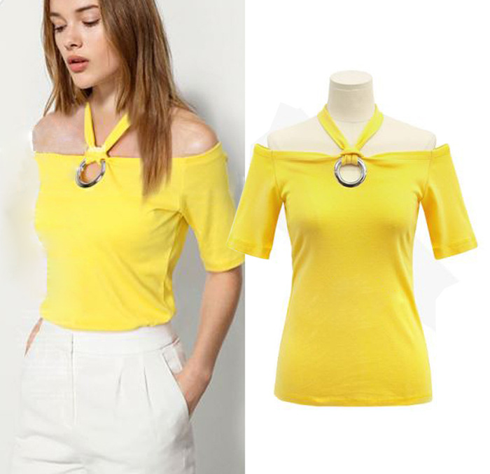 Factory direct supply cross-country women's new summer sexy hanging neck strapless collar Slim short-sleeved T-shirt