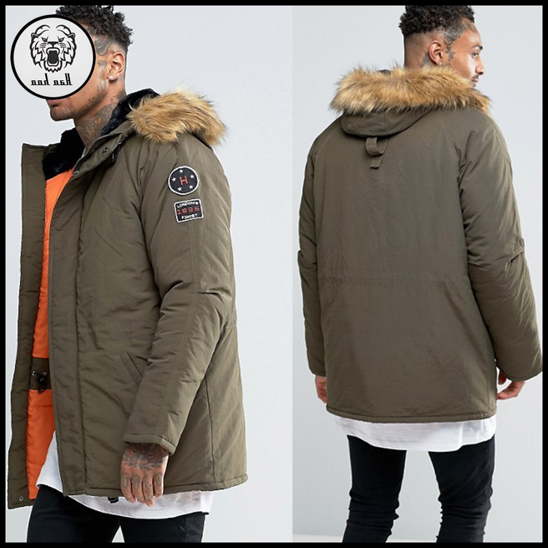 New style men winter 100% polyester long paded windproof waterproof jacket coat with hood