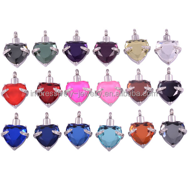 IJD8072 18 kinds colors stainless steel jewelry with colorful stone cremation heart pendant necklace