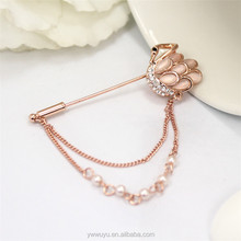 Rose Gold Chain Men Rhinestone Enamel Animal Brooch For Women