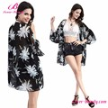 New Arrival Black Fashion Print Beach Wear Cover Up