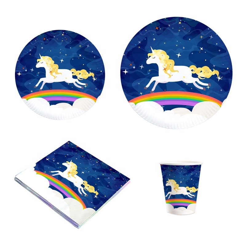 Navy Blue Dark Star Sky and Rainbow Party Dinnerware Set Bundle Flying Magical Unicorn Party Supplies
