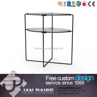 Clear glass side table with metal frame