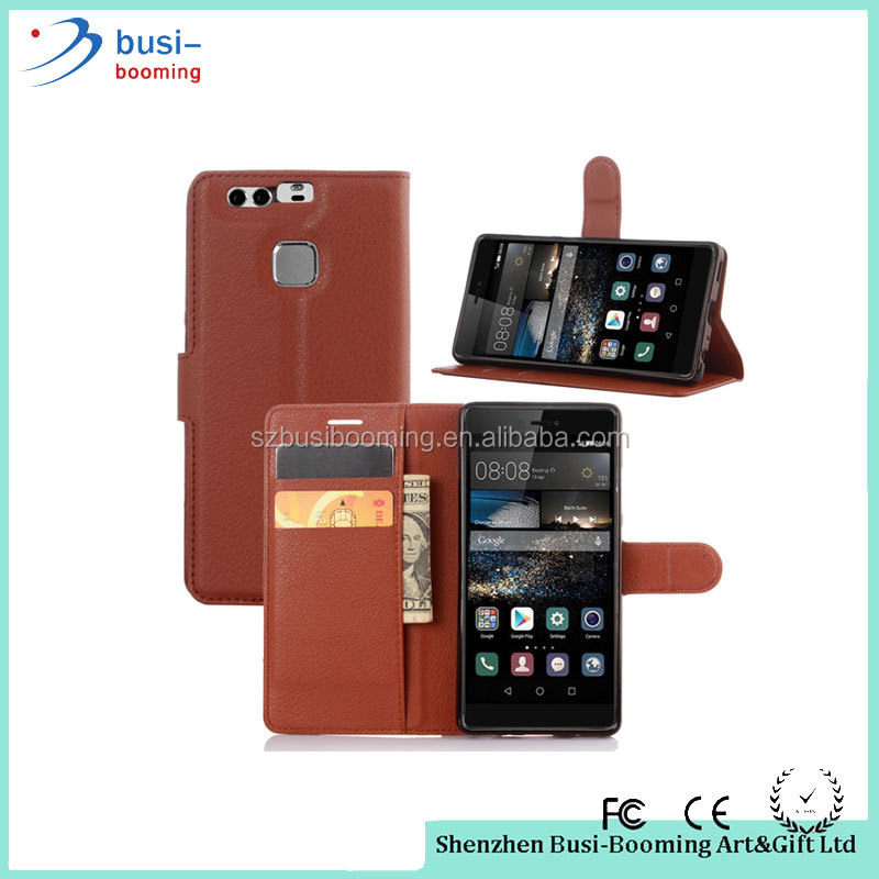 2016 New Arrival Lichi Texture Flip Wallet Case PU Leather Case For Huawei P9