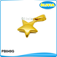 wholesale promotion gold color custom engraved five pointed star pendant