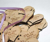 laser cut wooden heart accept engraving words for wedding decoration