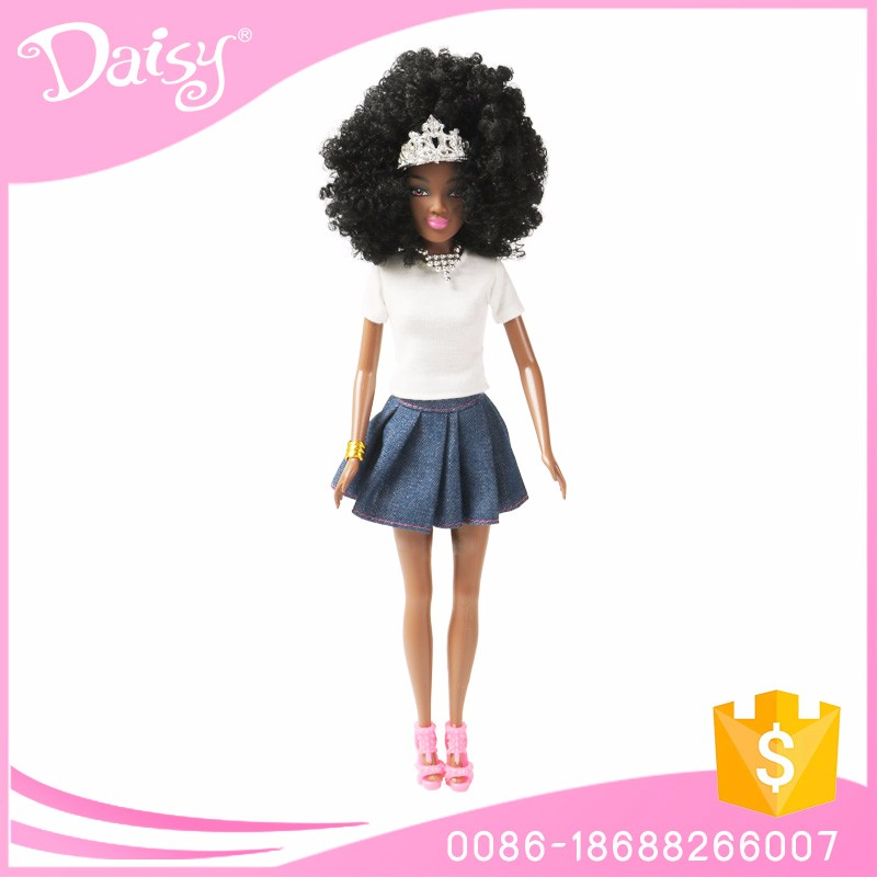 11.5 inch real pvc plastic jointed fashion african black girl doll