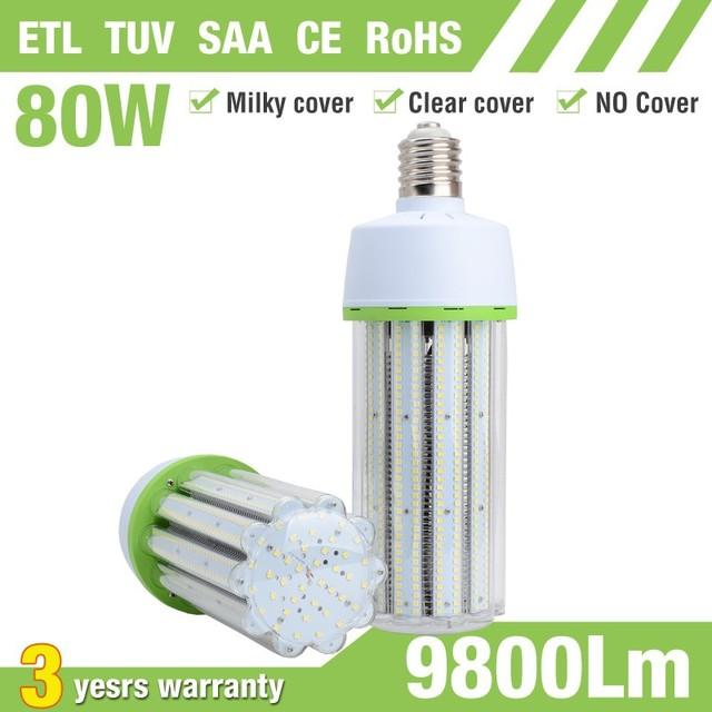 Fan cooling daylight white 80w e40 led corn bulb replaces 250w metal halide in lamp pole