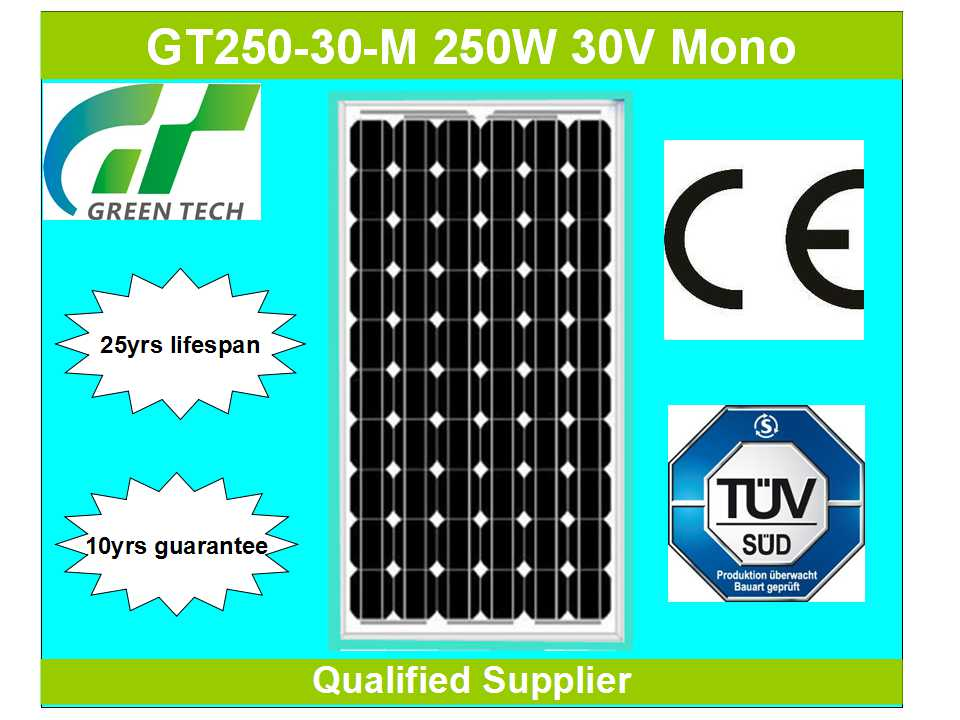 GT250-30-M 250W 30V china solar panels cost