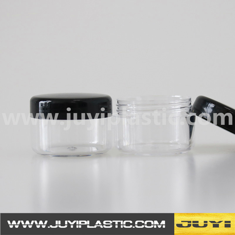 Economic clear round shaped PS plastic cosmetic jar 3g 5g cream container with black lid