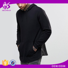 2016 Guangzhou OEM Custom Spring 100% Cotton Jersey Pullover Long Sleeve Longline Wholesale Blank Pullover Hoodies