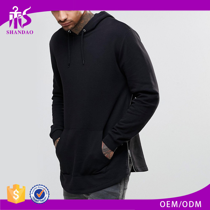 Guangzhou OEM Custom Spring 100% Cotton Jersey Pullover Long Sleeve Longline Wholesale Blank Pullover Hoodies