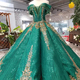 HTL139 green women evening dresses covered back beading sparkle lace off shoulder muslim gowns