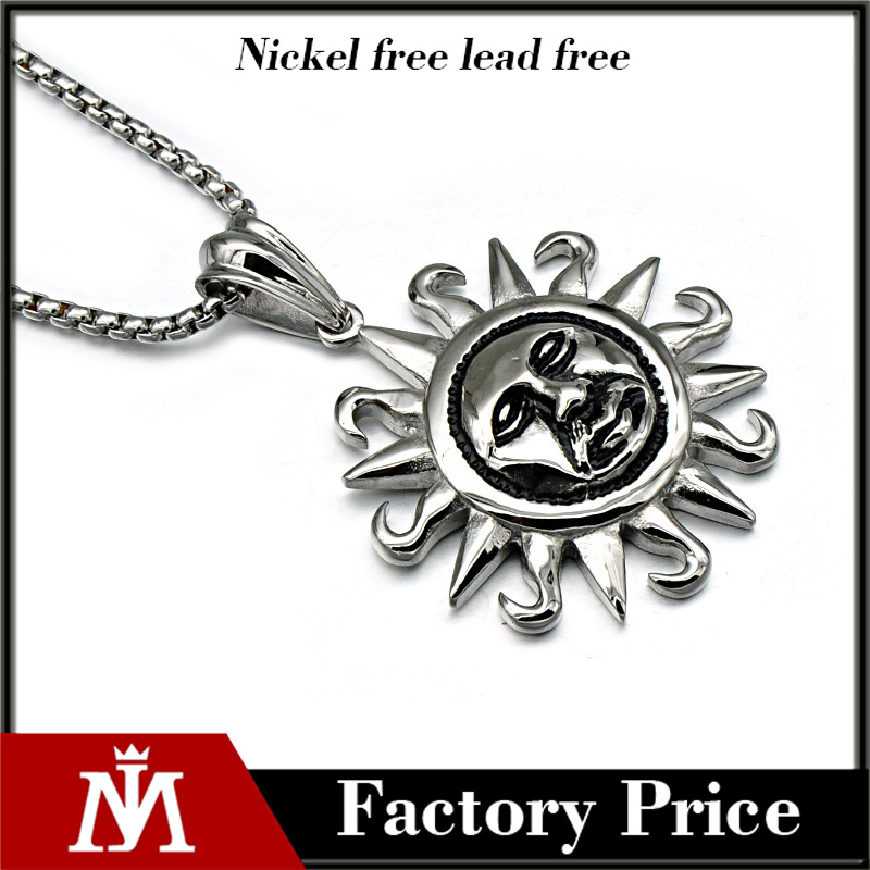 Men's Sun Moon Face Celestial Lunar Solar Pendant, box chain necklace
