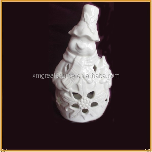 white ceramic snowman for christmas decoration