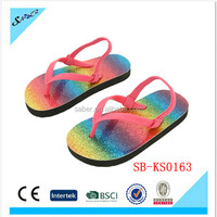 Saber latest rainbow design kids PVC strap EVA sandal for girl
