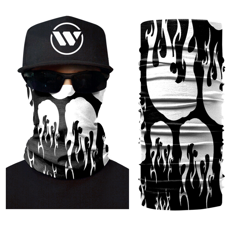 All Hallows Ghost Flame Face Mask Tube Scarf Muslim Biker Tie Dye Multifunctional Bandana Printed