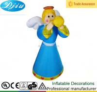 Blue dress and gold hair beautiful girl drinking water inflatable realistic inflatable doll angel decoration