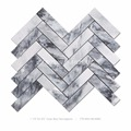 white and grey herringbone backsplash marble mosaic tile