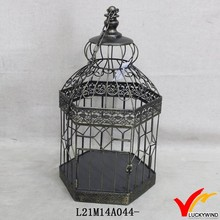 hang up antique round distressed bird cage