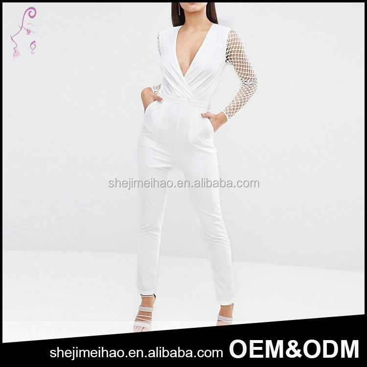 White Color 100% Polyester Zip Back Long Mesh Sleeve Open Breast Plunge V Veck Sexy Women One Piece Jumpsuit