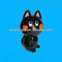 black ceramic happy cat