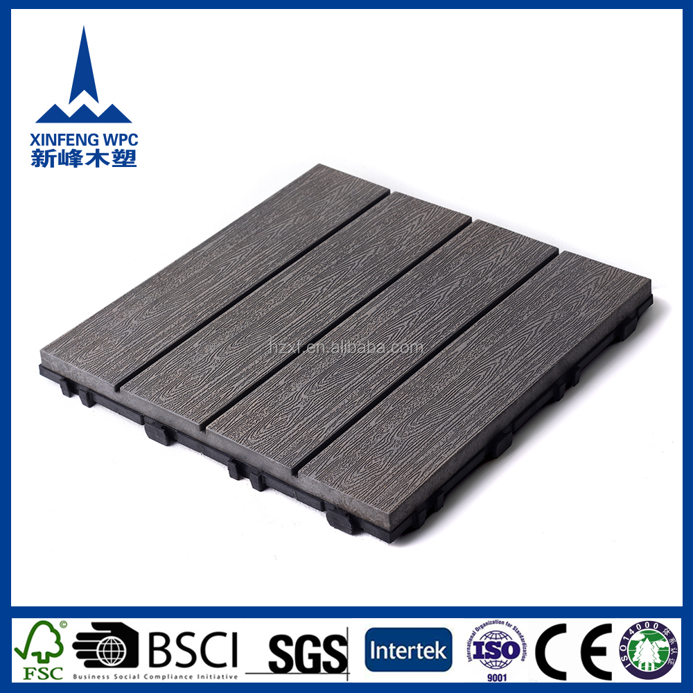 Waterproof engineered wpc multi colored wood composite decking flooring